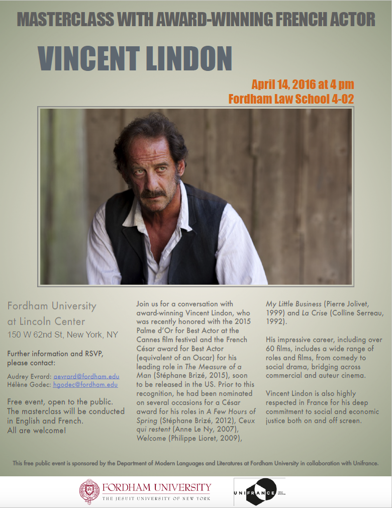 April 14 at 4pm (LC): Masterclass with Award-winning actor Vincent Lindon