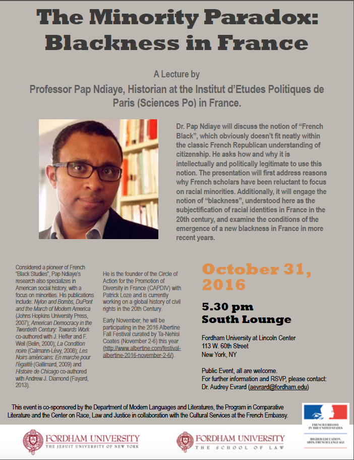 October 31, 5.30 pm (South Lounge, LC): Lecture by Dr. Pap Ndiaye