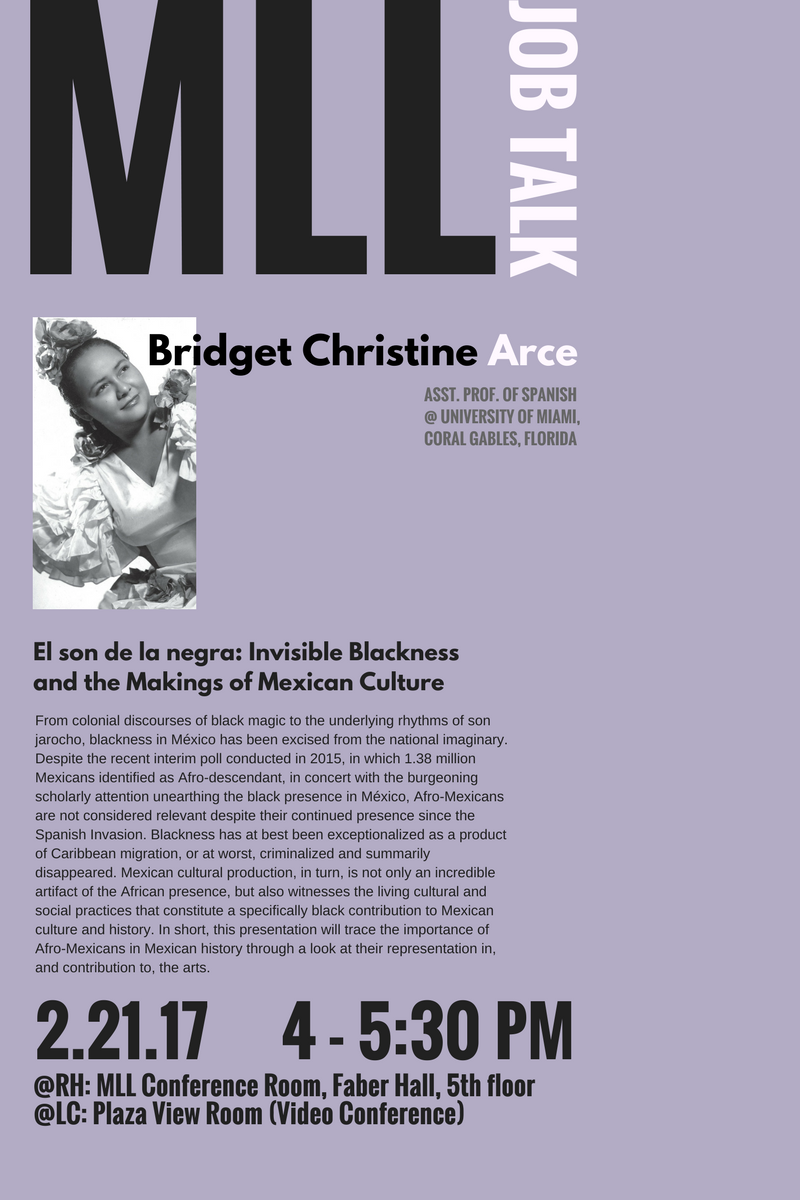 Tuesday, February 21 at 4 pm (Faber 568):