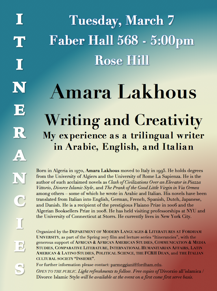 ITINERANCIES Series: Tuesday, March 7 at 5 pm (Faber 568)