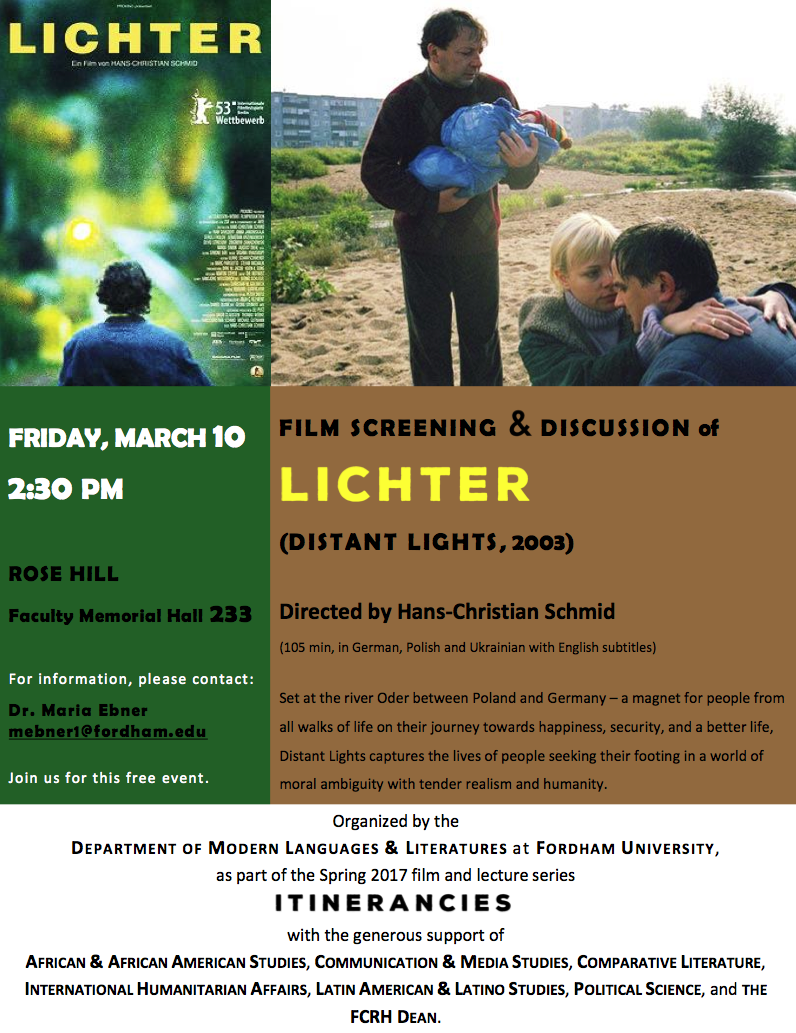 ITINERANCIES Series: Friday, March 10 at 2.30 pm (FMH 233): Screening of Lichter (Hans-Christian Schmid, 2003)