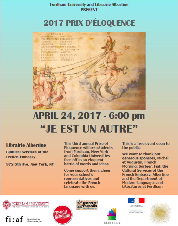April 24 at 6:00 pm: 2017 Prix d'Eloquence at Albertine Bookstore (972 5th Avenue)