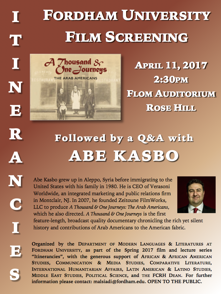 ITINERANCIES Series: April 11 (Flom auditorium): Screening of A Thousand and One Journeys, followed by a Q&A with Director-Producer Abe Kasbo