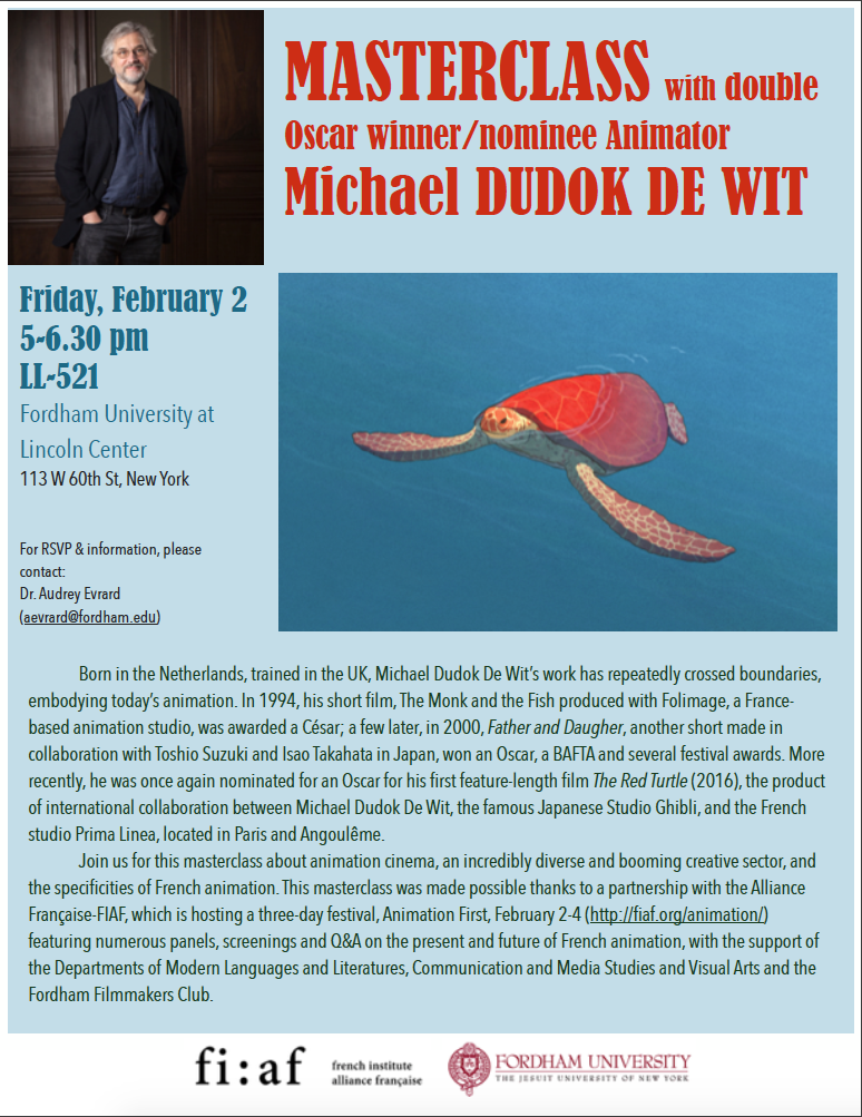 Friday, February 2 @ 5 pm (LL-521): Masterclass with Michael Dudok De Wit, Creator of The Red Turtle (2016)
