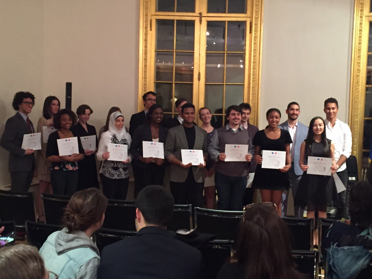 Prix d'éloquence 2016 participants from Fordham and Columbia